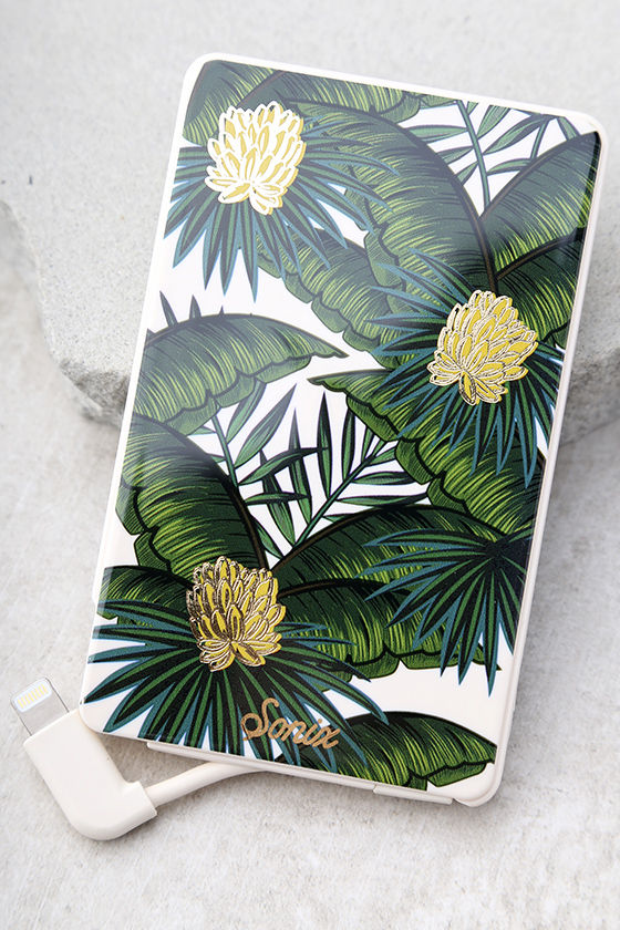 Sonix Coco Banana Pick Me Up Green Leaf Print Portable Charger 1