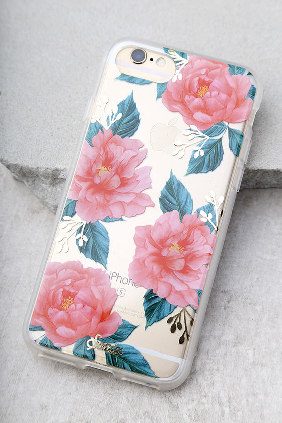 Sonix Baillie Clear and Coral Pink Floral Print iPhone 7 Case 1