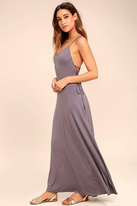 Lovely Dusty Purple Maxi Dress - Lace-Up Maxi Dress - Jersey Knit ...