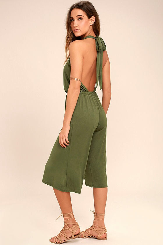 Fabulous Fate Olive Green Midi Jumpsuit 1