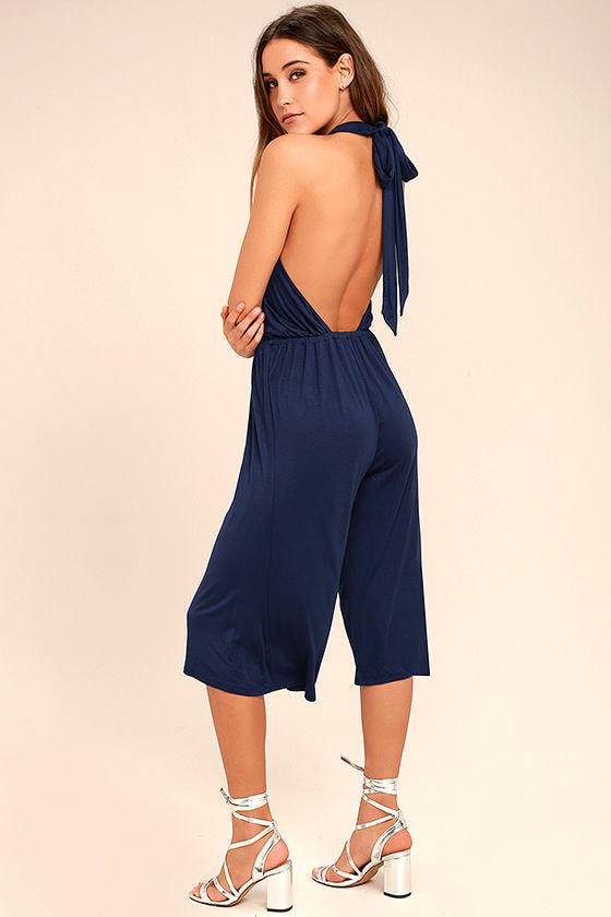 71e9a922b84 Chic Navy Blue Jumpsuit - Midi Jumpsuit - Halter Jumpsuit - Backless  Jumpsuit -  46.00