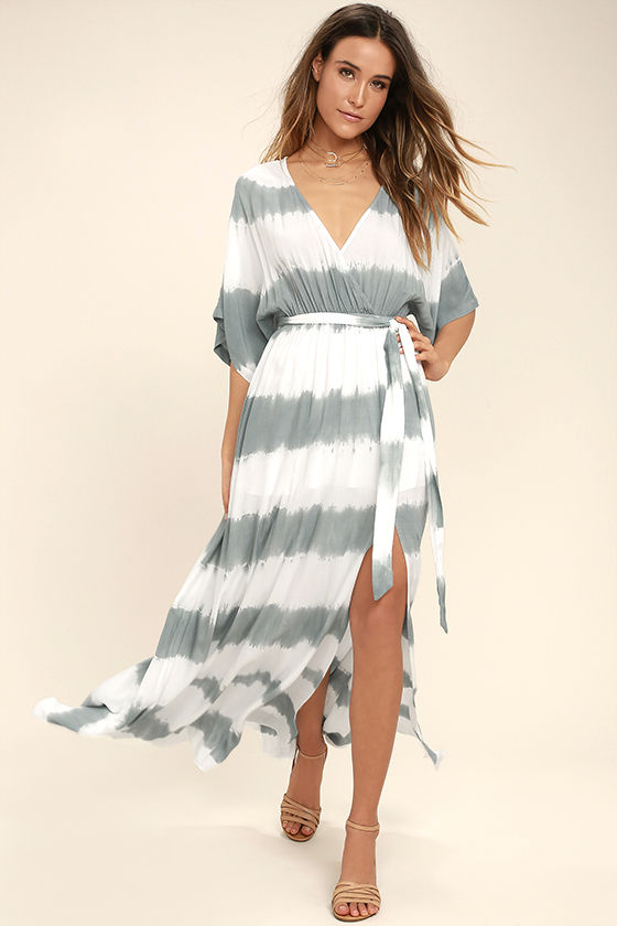 La Concha Dusty Sage Tie-Dye Wrap Maxi Dress 1
