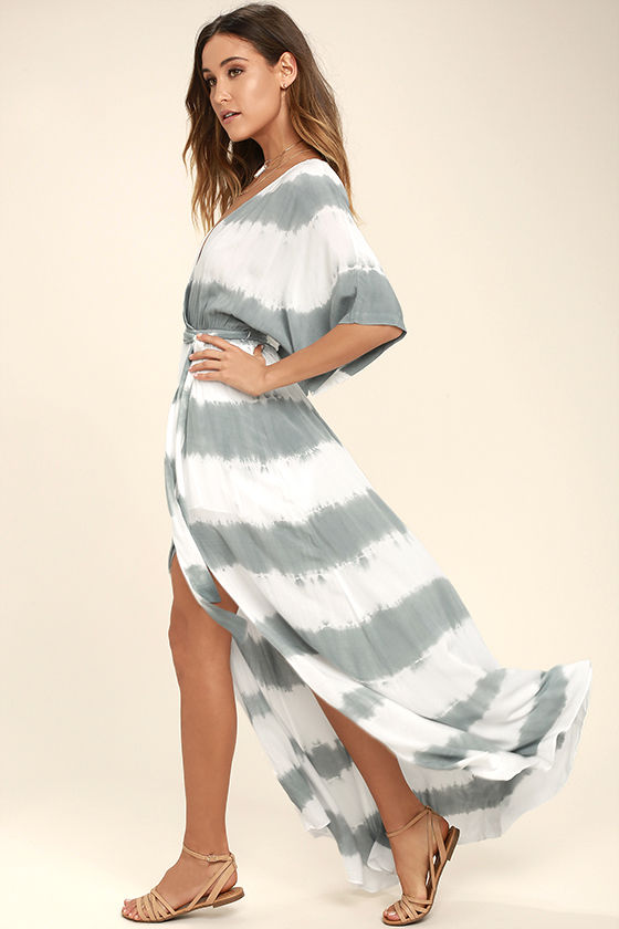 La Concha Dusty Sage Tie-Dye Wrap Maxi Dress 2