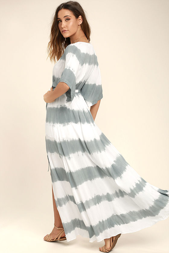 La Concha Dusty Sage Tie-Dye Wrap Maxi Dress 3