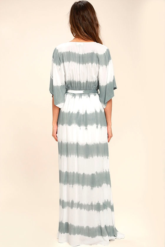 La Concha Dusty Sage Tie-Dye Wrap Maxi Dress 4