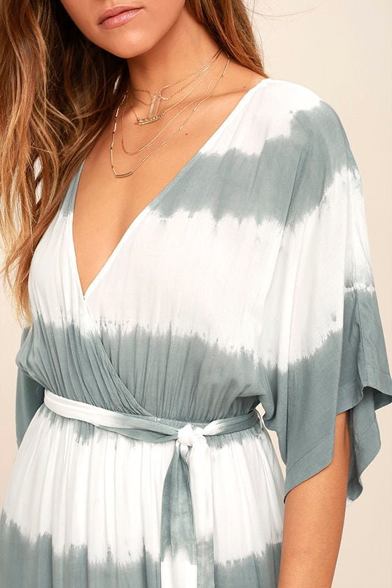 La Concha Dusty Sage Tie-Dye Wrap Maxi Dress 5