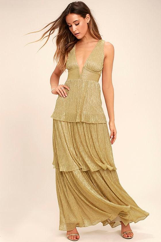 34c0b1b2b6e6 Modcloth Heavenly Haute Tiered Maxi Dress Slate. Stunning Gold Maxi Dress  Tiered Plunge Neck