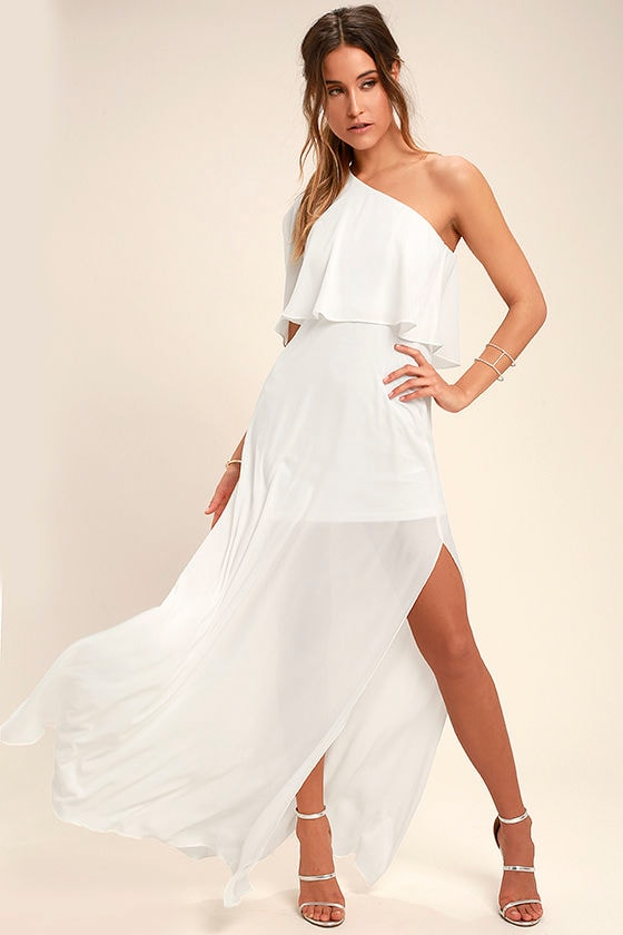 Angelic Way White One-Shoulder Maxi Dress 1