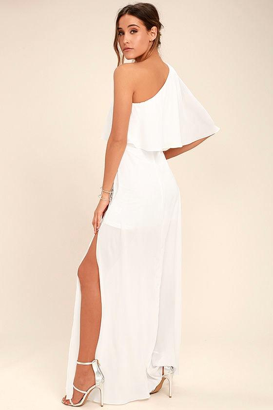 Lovely White Dress - One-Shoulder Dress - Maxi Dress - $72.00