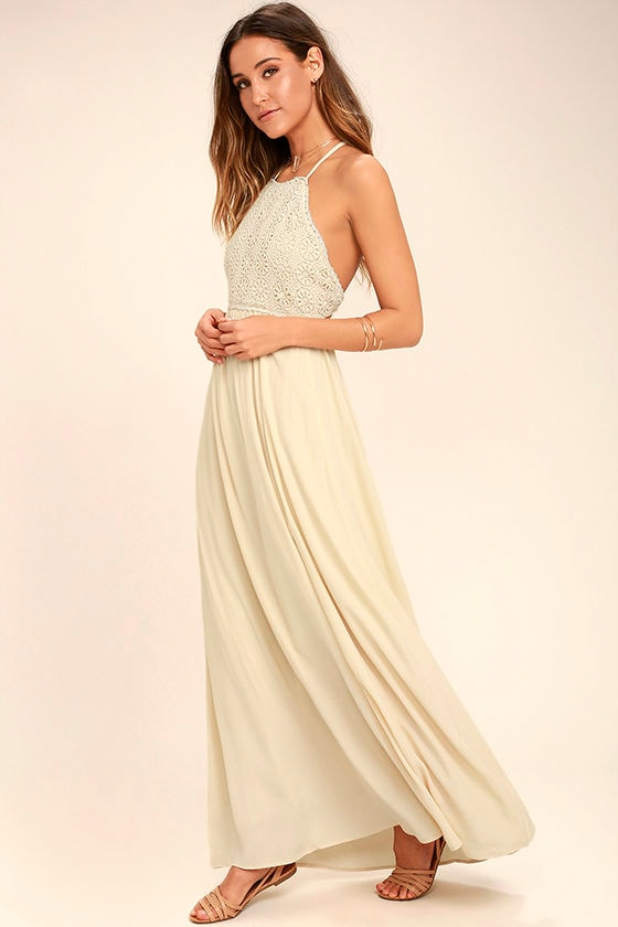Beautiful Moment Light Beige Lace Maxi Dress 1