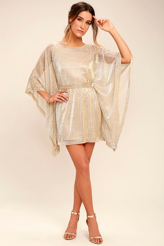 Lovely Gold Dress - Kaftan Dress - Metallic Dress - Belted Dress ... 9be994cdd