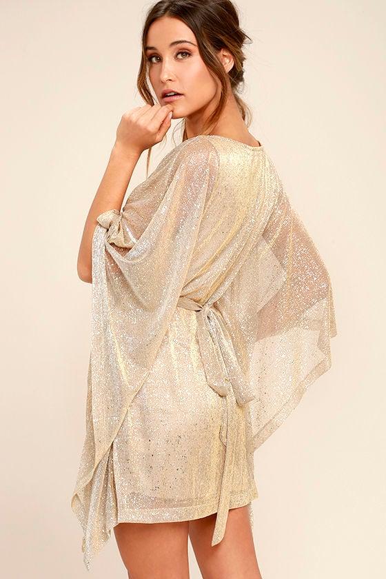 Lovely Gold Dress - Kaftan Dress - Metallic Dress - Belted Dress -  74.00 7f278f3b1