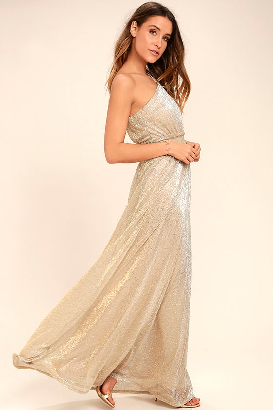Luminous Grace Gold One-Shoulder Maxi Dress 2