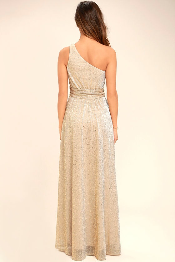 Luminous Grace Gold One-Shoulder Maxi Dress 3