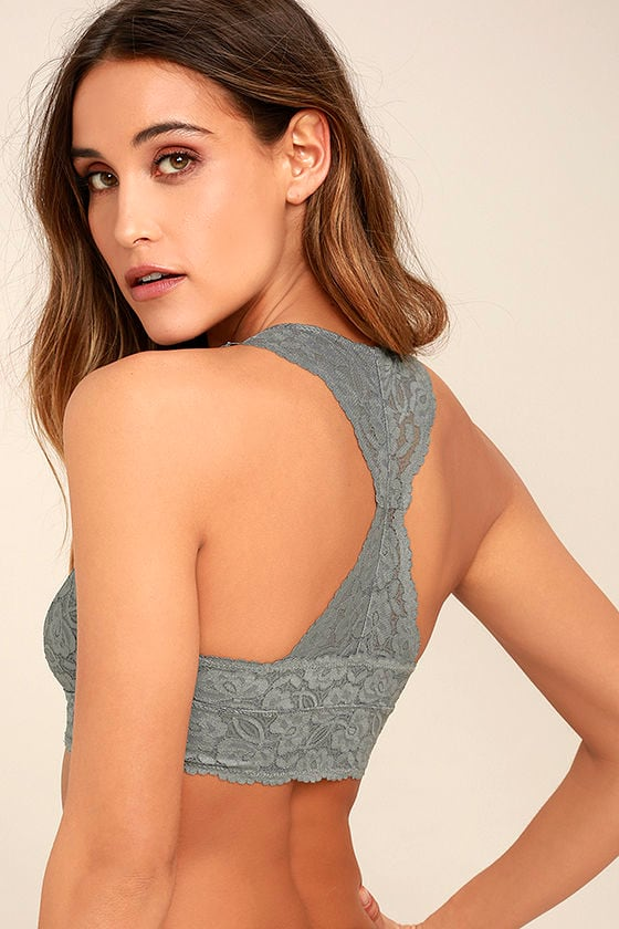 Free People Galloon Racerback Grey Lace Bralette 1