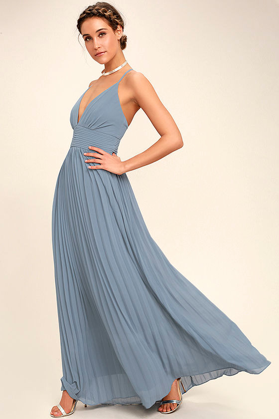 Stunning dusty blue dress pleated maxi dress blue gown for Wedding guest dresses for 40 year olds