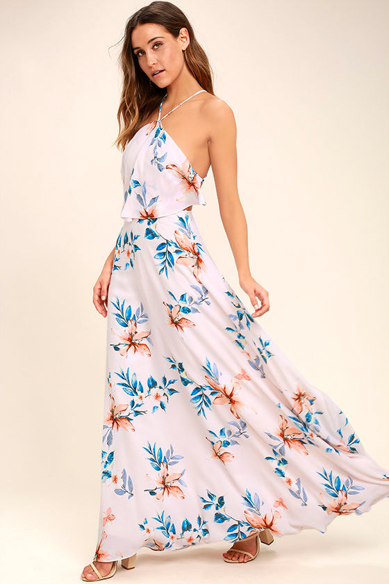 Peninsula Light Peach Floral Print Maxi Dress 1