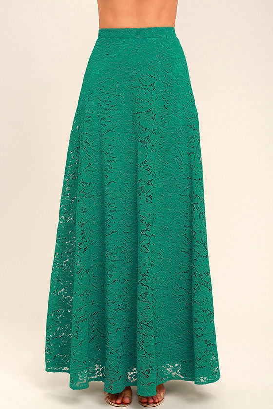 Love at First Sight Teal Lace Two-Piece Maxi Dress 5