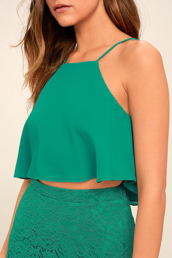 Love at First Sight Teal Lace Two-Piece Maxi Dress 6