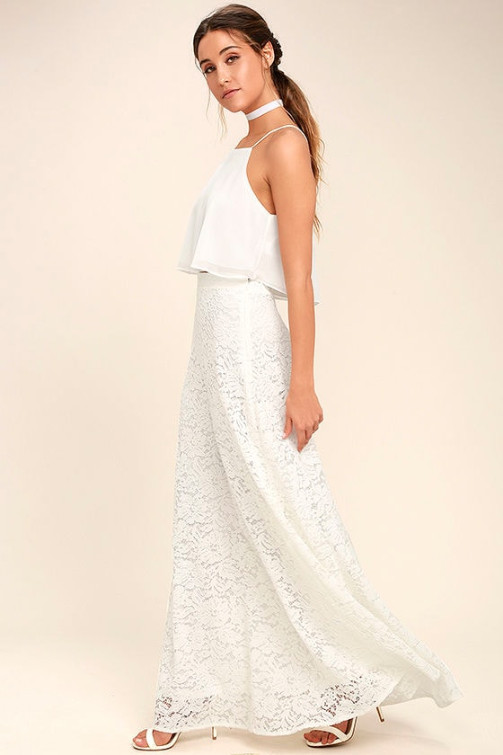 c1a9c3fc41d Stunning White Two-Piece Dress - Lace Two-Piece Dress - Two-Piece Maxi Dress  -  89.00
