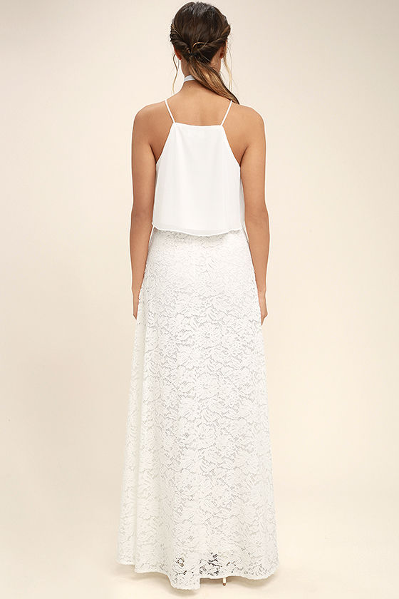 Love at First Sight White Lace Two-Piece Maxi Dress 3