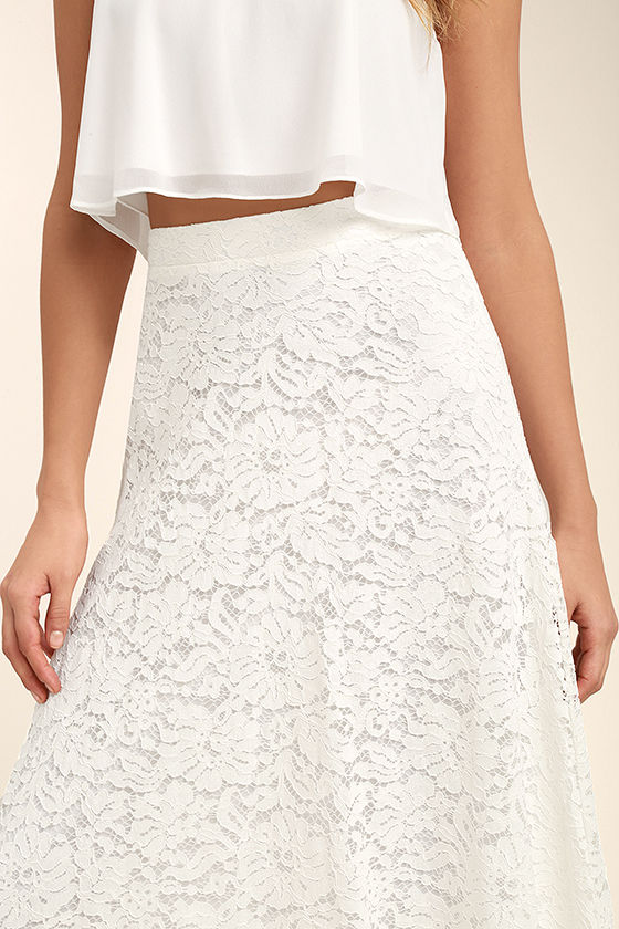 Love at First Sight White Lace Two-Piece Maxi Dress 6