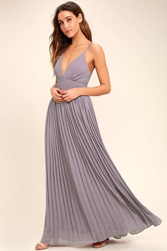 Stunning Light Purple Dress - Pleated Maxi Dress - Dusty ...