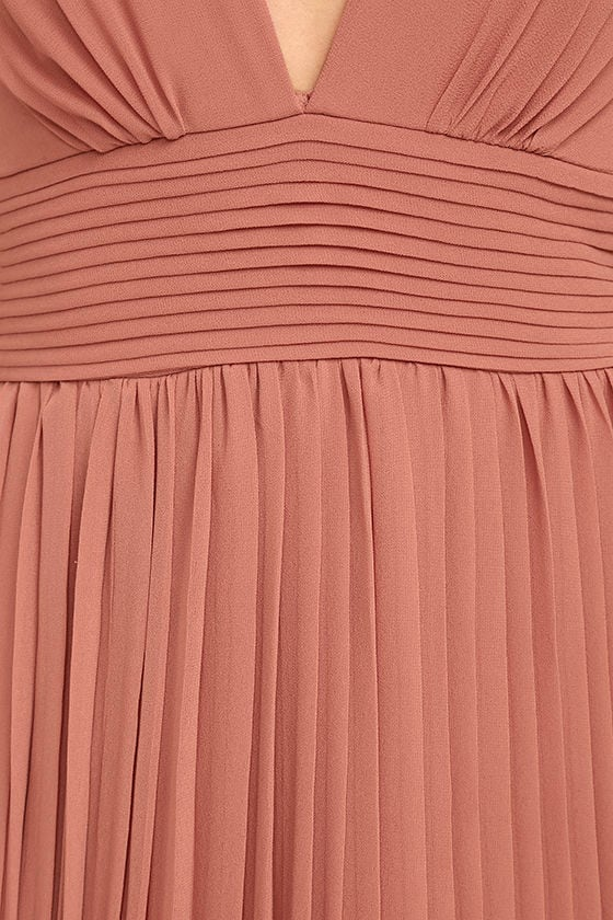 Stunning Rusty Rose Dress Pleated Maxi Dress Pink Gown