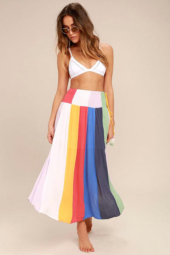 Put on a Show Lavender Striped Midi Skirt 1