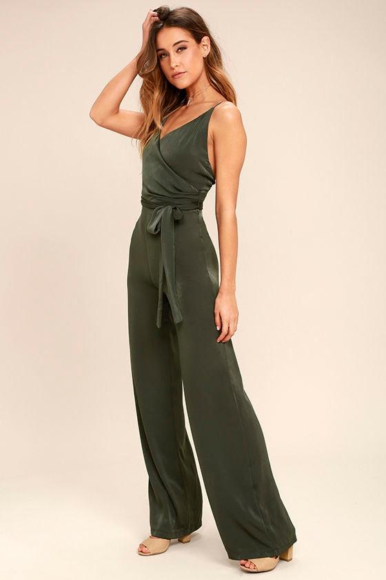 d48e3f7da58 Lovely Olive Green Jumpsuit - Satin Jumpsuit - Wide-Leg Jumpsuit ...