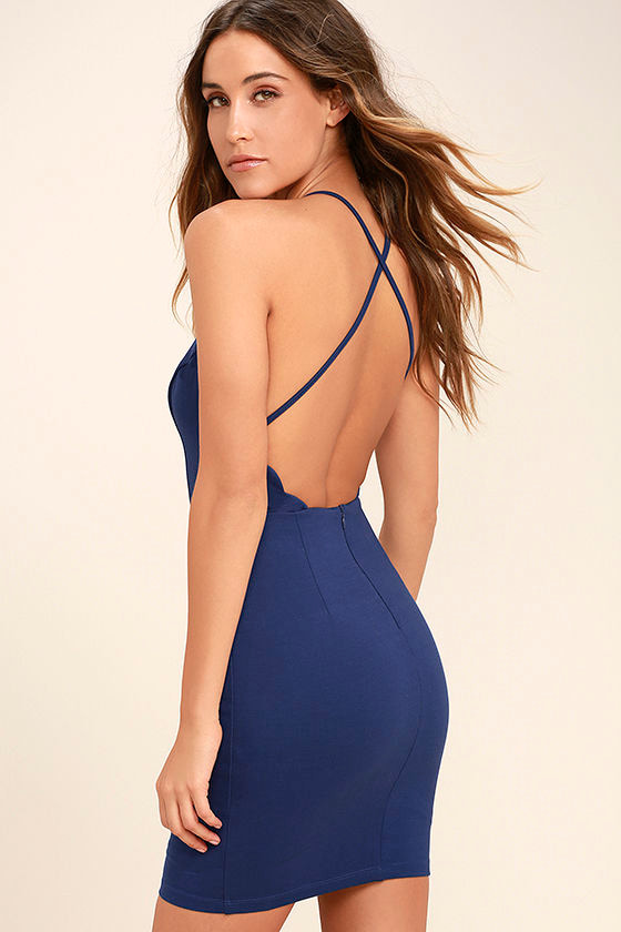 Heart's Content Royal Blue Bodycon Dress 1