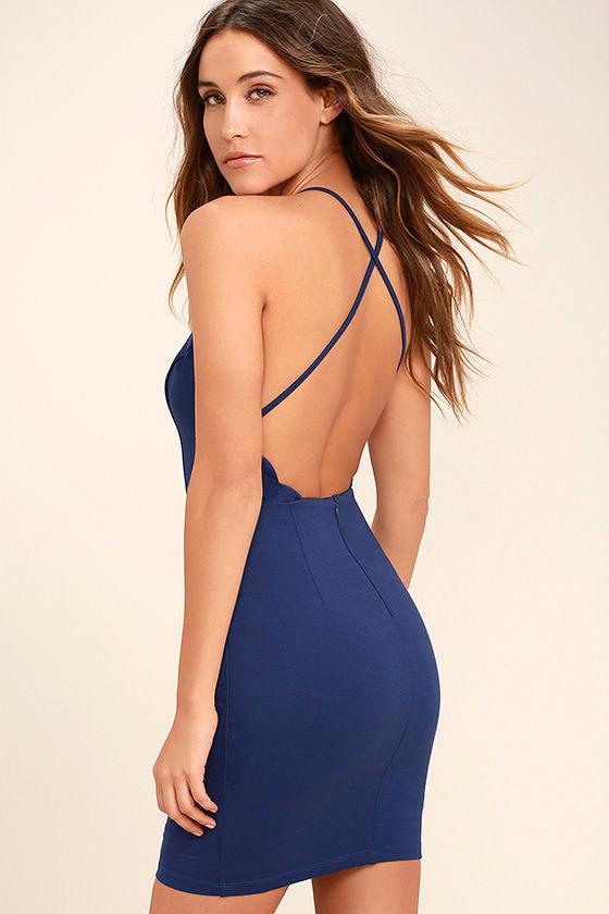 Heart's Content Royal Blue Bodycon Dress 1