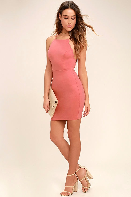 Heart's Content Rusty Rose Bodycon Dress 2