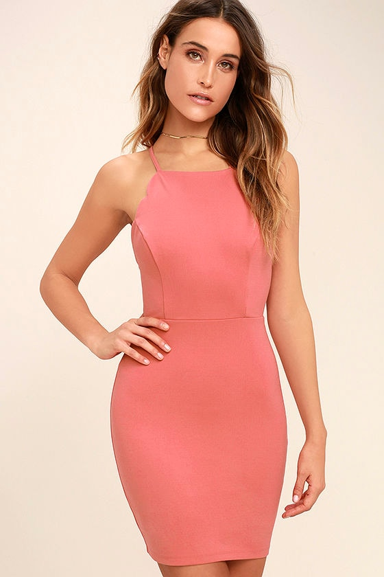 Heart's Content Rusty Rose Bodycon Dress 3