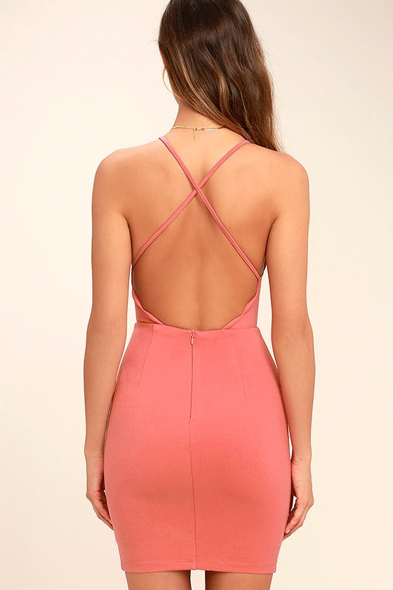 Heart's Content Rusty Rose Bodycon Dress 4