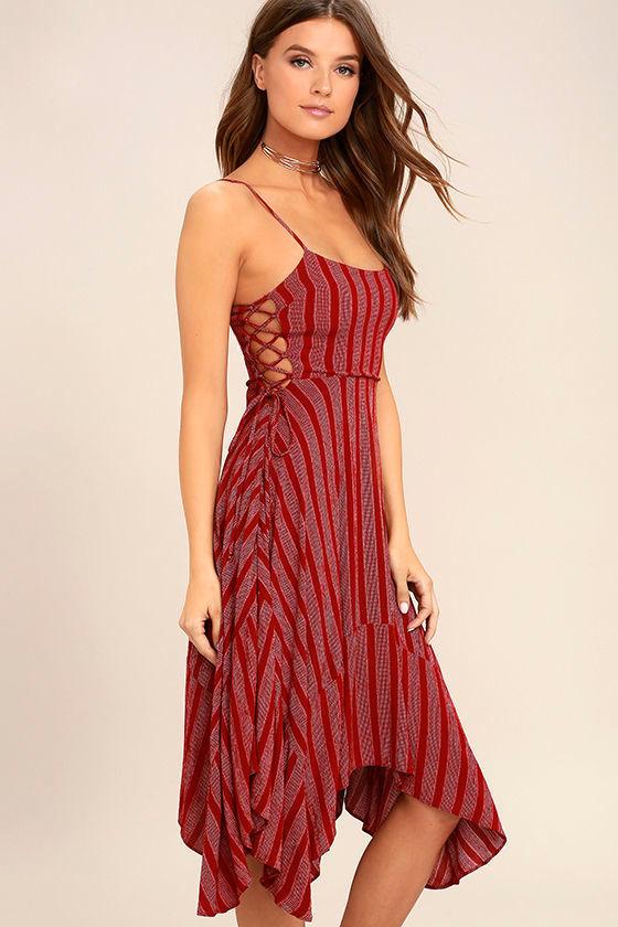 Cute Red Striped Dress - Midi Dress - Lace-Up Dress - Handkerchief ...