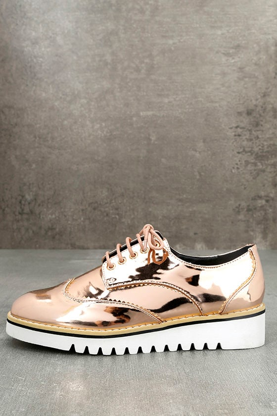 Aurelia Rose Gold Patent Platform Oxfords 2