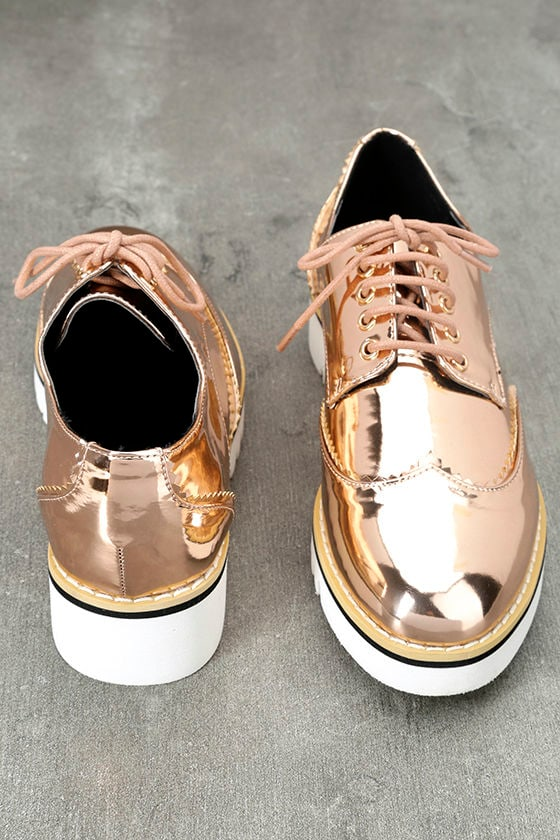 Aurelia Rose Gold Patent Platform Oxfords 3