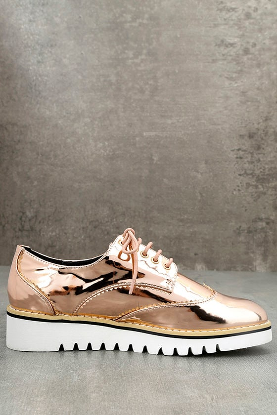 Aurelia Rose Gold Patent Platform Oxfords 4