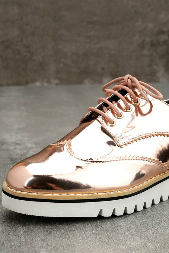 Aurelia Rose Gold Patent Platform Oxfords 6