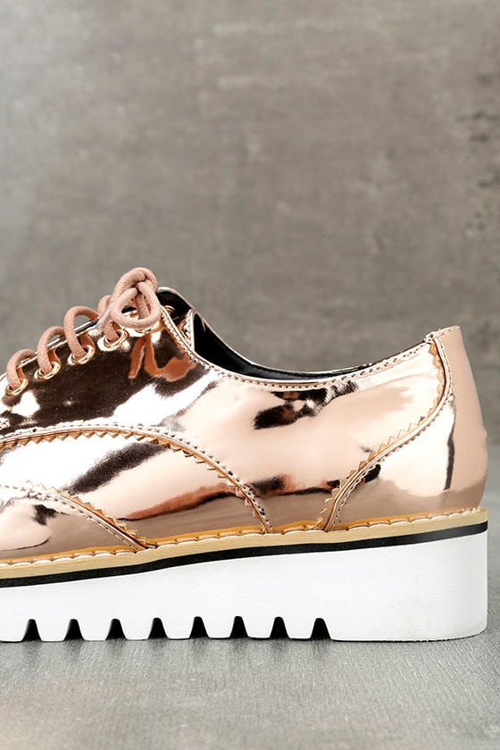 Aurelia Rose Gold Patent Platform Oxfords 7