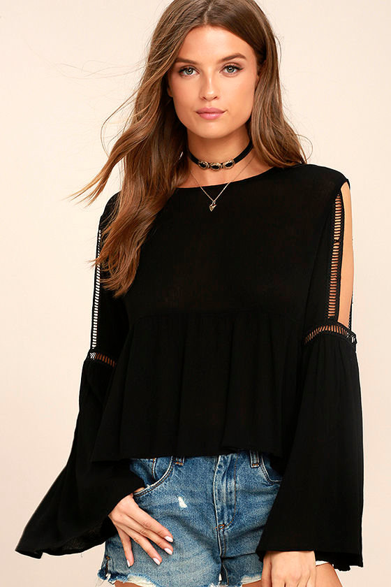 19790adc3df Boho Black Top - Embroidered Top - Cold Shoulder Top - Peasant Top - $42.00