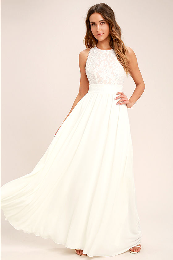 Forever and Always White Lace Maxi Dress 2