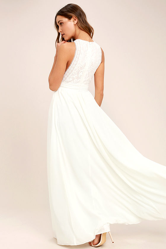 Forever and Always White Lace Maxi Dress 3