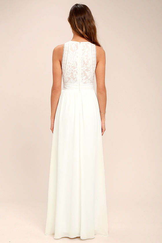 Forever and Always White Lace Maxi Dress 4