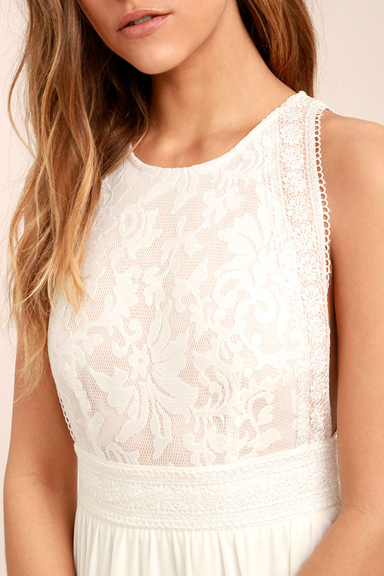 Forever and Always White Lace Maxi Dress 5