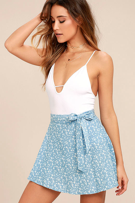 Put a Record On Light Blue Floral Print Wrap Skirt 1