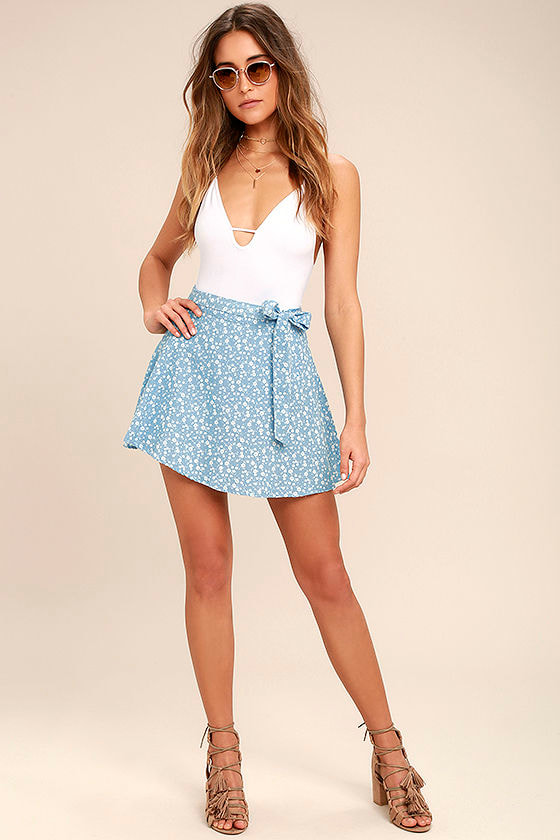 Put a Record On Light Blue Floral Print Wrap Skirt 2