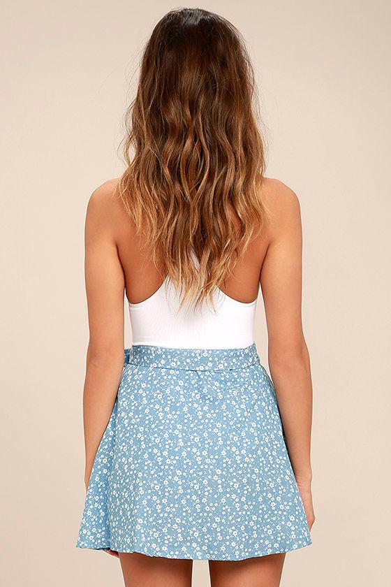 Put a Record On Light Blue Floral Print Wrap Skirt 3