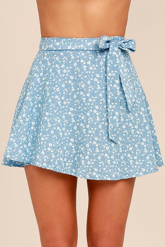 Put a Record On Light Blue Floral Print Wrap Skirt 4